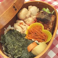おべんとう/鮭/海苔/西京焼/里芋/にんじん/... 今日は大好きな海苔べんとう おかずは、鮭…