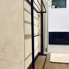 山崎実業 タオルハンガー スリム タワー ブラック | TOWER(物干しハンガー、ピンチ)を使ったクチコミ「狭小脱衣場、1畳もないです。 タオルはア…」(1枚目)