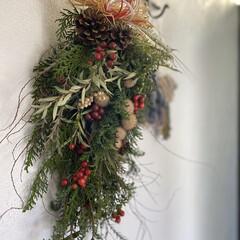 漆喰壁/スワッグ/お正月飾り/お正月アレンジ/お正月/インテリア/... 友人の花屋さんが作ったお正月飾りのスワッ…