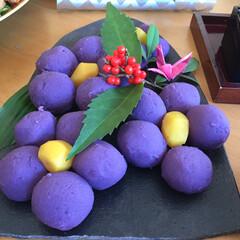栗きんとん、御節、華やか、可愛い/お正月2020 彩りの良い紫芋を使って、栗きんとんを作り…