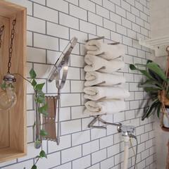 インドアグリーン/壁紙/ホワイトタイル柄/ボックスミラー/アルブル深型/サニタリールーム/... キッチンも同様ですが、木のナチュラルさと…