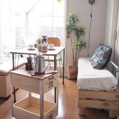 リビング/カフェタイム/おうちカフェ/コーヒータイム/パレット/ワインボックス/... いつかのお家カフェ。 ダイニングテーブル…