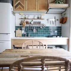 流木インテリア/冷蔵庫ペイント/冷蔵庫リメイク/ラタンチェア/ダイニングチェア/ダイニングテーブル/... ダイニングキッチンの模様替えをしました。…