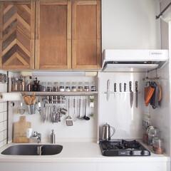 リセット/模様替え/DIY/インテリア/リフォーム/キッチン キッチンの模様替えをするのに、レンジフー…