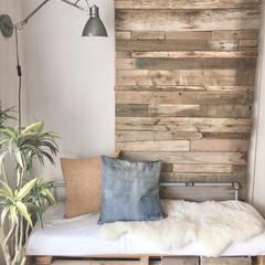 戸袋/アクセントウォール/突っ張り柱/流木インテリア/流木/板壁/... 去年の夏休みの帰省中DIYした流木の板壁…