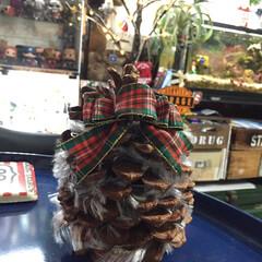 松ぼっくり/クリスマス/オーナメント/毛糸 高さ15センチはある巨大松ぼっくりに購入…