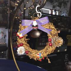 クリスマス/リース/オーナメント/小ぶり/シンプル 直径10センチほどの小さめなクリスマスリ…