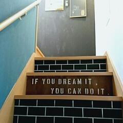 ペイント/ステンシル/レンガ柄/リノベーション 階段リノベーション☆ 壁にはペイント、階…