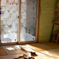 目隠しシート/セリア/100均/DIY/ハンドメイド/暮らし 和室の窓に貼ったしずく型の目隠しシート。…(1枚目)