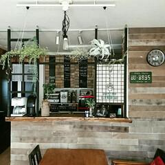 ホームセンター/カフェ風インテリア/リメイク/リノベーション/板壁/DIY キッチンカウンター&ダイニングのリメイク…