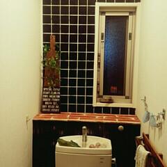 リメイクシート/男前インテリア/DIYアイデア投稿コンテスト/タイル柄/100均/セリア/... トイレをかっこよくDIY☆  1,改善し…