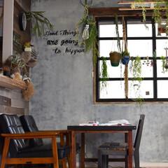 ダイニングテーブルDIY/窓枠DIY/インテリア/セルフリノベーション/100均/DIY/... リビングの腰高窓にはDIYで作った窓枠を…