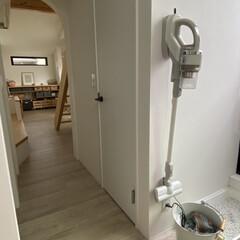 洗面所/掃除機収納/収納/掃除/暮らし/キッチン壁紙 コードレスのスティック掃除機を 洗面の壁…