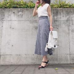バックパック/スカートコーデ/コーデ/今日のコーデ/ファッション GU のチェックスカートが可愛いくて、 …