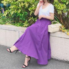 fashion/スカートコーデ/今日のコーデ/ファッション 今日みたいに暑い日は、 Tシャツで過ごし…