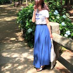 オトナ女子/エアリースカート/コーデ/今日のコーデ/スカートコーデ/ファッション 紫陽花に 負けないくらい 鮮やかなブルー…