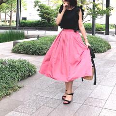 カラースカート/オトナ女子/今日のコーデ/スカートコーデ/夏コーデ/ファッション 今期はカラースカートが豊富ですね♡ この…