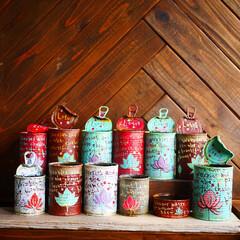 モリーブマルシェ/滋賀マルシェ/滋賀イベント/リメイク缶/Lotus缶/ミルクペイント/... Lotus缶 たくさん作りました。 滋賀…