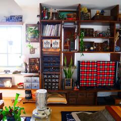 男前インテリア/インテリア/リビング/収納/棚/リフォーム/... リビングの大きな棚はテレビの大きさや窓の…