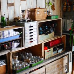 作業部屋/アトリエ/収納/リンゴ箱/DIY/男前インテリア 作業部屋です。 作業部屋の収納はリンゴ箱…