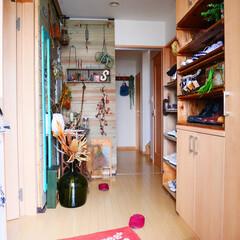 DIY/玄関/古道具/ディアウォール/板壁/板壁DIY/... 用事や買い物を済ませて帰宅してびっくり!…
