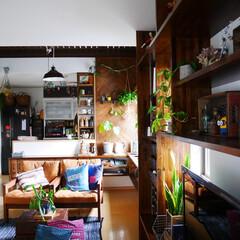 男前インテリア/キッチン/リビング/DIY/板壁DIY/板壁/... リビングから見たキッチン。 ライトも変え…