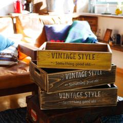 男前インテリア/木箱/ウッドボックス/エイジング加工/ステンシル/DIY ヴィンテージ風にエイジングした木箱。 何…