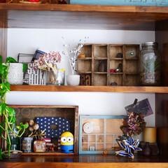 男前インテリア/100均/100均リメイク/DIY/ディスプレイ リビングの棚♪ お気に入りの木箱に100…