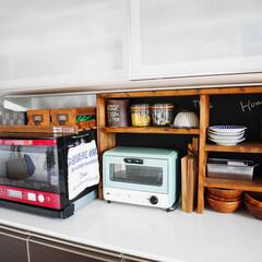 男前インテリア/棚/棚DIY/DIY/キッチン キッチン。 ピッタリサイズにDIY。 置…