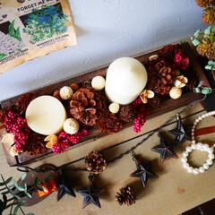 クリスマス/Candle/ドライアレンジ/キャンドル/男前/ディスプレイ/... 木箱にクリスマスっぽいものを集めて入れた…