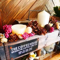 クリスマス/DIY/木箱/木工/ディスプレイ/男前/... セリアのプレートを付けた木箱に100均の…