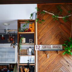 キッチン/板壁/DIY/カフェ風インテリア/男前インテリア/木工/... リビングから見たキッチン。 棚もヘリンボ…(1枚目)