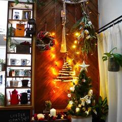 クリスマス/雑貨/リース/ヘリンボーン/板壁/リビング/... 流木に100均のLEDケーブルライトを4…