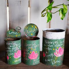 リメイク/リメイク缶/リメ缶/ペイント/DIY/蓮/... 空き缶にペイントしたりイラストを描いたり…
