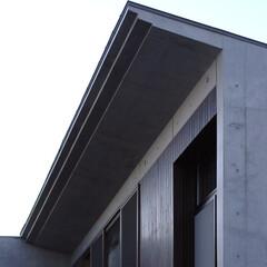 庇/屋根/勾配屋根/片流れ/コンクリート/RC/... もみじの家は正面から見ると陸屋根ですが、…