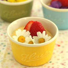 エディブルフラワー/カスタードプリン/レシピ 食べられるお花 エディブルフラワーでおめ…
