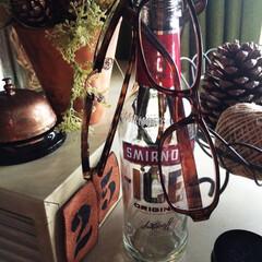 男前インテリア/男前雑貨/空き瓶リメイク/リメイク/DIY/雑貨/... 空き瓶リメイク  即席眼鏡掛けスタンド