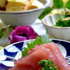白菜と鶏肉の和風煮/小松菜お浸し/よこわ/フォロー大歓迎 こんばんは^ ^  今夜の夕飯です☘️ …