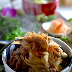 ブロッコリーサラダ/白菜あんかけ/なます/牛ごぼうご飯/フォロー大歓迎/食事情 こんばんは^ ^ 今夜の夕飯です☘️  …
