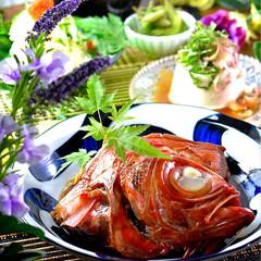 夕飯/牛肉時雨煮/冷奴/枝豆/チョット素麺/金目鯛の煮付け こんばんは^ ^ 今日も暑き一日でした💦…