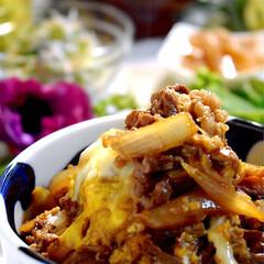 メニュー/献立/蒟蒻ピリ辛/キューリとシラスの酢の物/お味噌汁/牛丼/... 今夜の夕飯です^ ^  今夜は、食材整理…