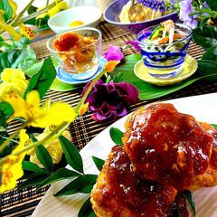 献立/夕飯/素麺と茄子のたいたん/なめこおろし/酢の物/つくね こんばんは^ ^  今日は激しい雨が二…