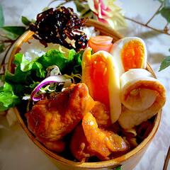 ぺったんこ茹で玉子/ワッパ弁/テリヤキチキン/お弁当 今日のお弁当です☘️  今朝はプチ二度寝…(1枚目)