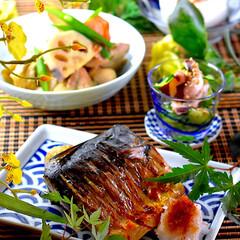 夕飯/蟹豆腐/タコとキューリの酢の物/筑前煮/塩鯖/おうちごはん こんばんは^ ^  お盆に入り忙しい1日…