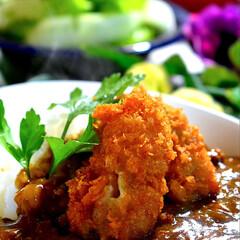野菜サラダ/カレー/カキフライ/フォロー大歓迎 今夜の夕飯です^_^  先日フォローさん…