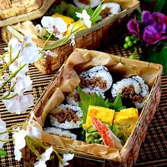 お昼ごはん/牛巻き/竹籠/おうちごはん/お弁当 こんにちは^ ^ 今日もあっつぅー💦です…