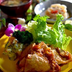 献立/酢レンコン/お味噌汁/豚の生姜焼き/フォロー大歓迎/食事情 こんばんは^ ^  今夜の夕飯です☘️ …