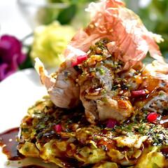 水菜サラダ/お好み焼き/献立/フォロー大歓迎 皆様こんばんは^ ^ 今夜の夕飯です。 …