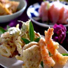 よこわのお造り/天ぷら/お味噌汁/リミアな暮らし/竹の子土佐煮 こんばんは^ ^  朝は寒く、日中は眠く…
