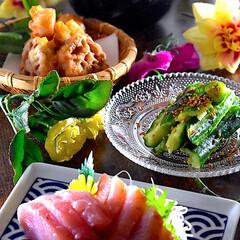 天ぷら/たたきキューリ/豚汁/よこわ/献立/夕飯 こんばんは^ ^  今日も穏やか、気候も…